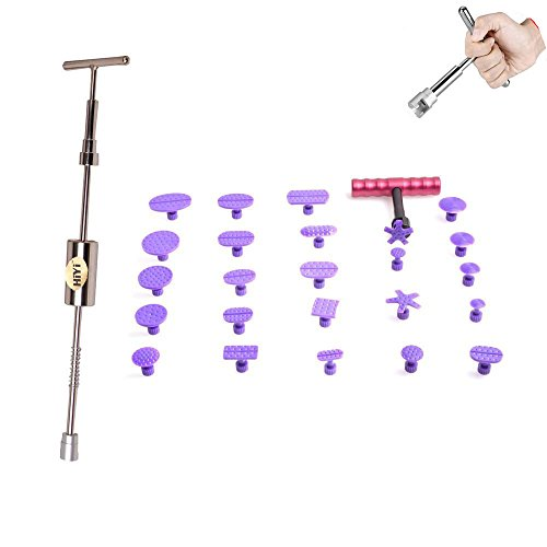 HiYi PDR Auto Body 2 in 1 T-bar Glue Dent Puller with Red T Hand Puller And 24 Pcs different Size Tabs Car Repair Tools Dent Removal Tools by HiYi