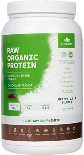 Dr. Forest Organic Raw Cold Pressed Vegan Plant Protein Powder - Add to Your Favorite Smoothies or Shakes - Non-GMO Certified Organic 20 Grams Protein per Serving, 2.2 lbs (Chocolate, 2.2 lbs)