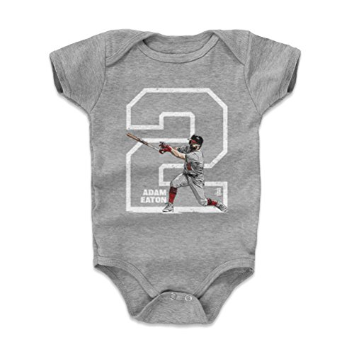 500 LEVEL Adam Eaton Baby Clothes, Onesie, Creeper, Bodysuit 3-6 Months Heather Gray - Washington Baseball Baby Clothes - Adam Eaton Outline W WHT