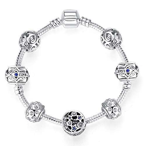 MUERDOU Mother Charms Bracelet for Girls and Women Murano Glass Beads Butterfly Flower Charms Amethyst Bracelets (Star Charm Bracelet)