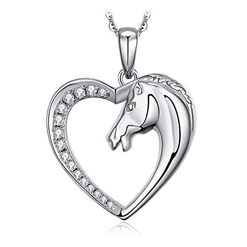 - JewelryPalace Half Heart Half Horse CZ Pave Cubic Zirconia Pendant Necklace 925 Sterling Silver 18 Inches Box Chain