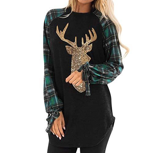 Women Pullover Tops Sweatshirt, Teen Girls Long Sleeve Stripe Patchwork Casual Top Sweater Shirts Blouse