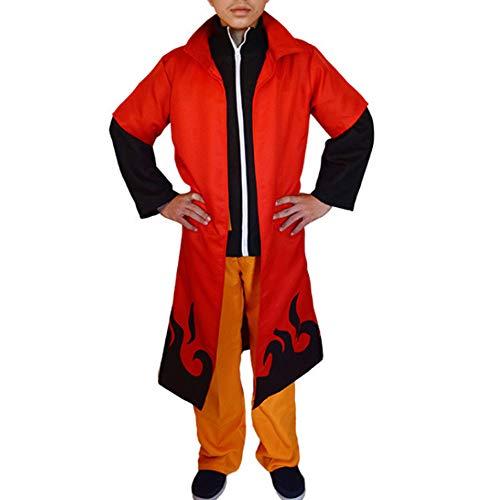 EVEDESIGN Men's Naruto Hokage Cloak Ninja Robe Hooded Boruto Halloween Cosplay Costume]()