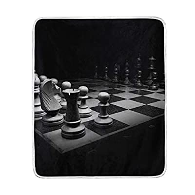 IceLuckyU 3D Black White Chess Battle Blanket Soft Warm Lightweight Blankets for Bed Couch Sofa Travelling Camping 60 x 50 Inch Throw Gift for Kids Adults