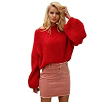 Simplee Women's Casual Long Sleeve Loose Pullover Knit Sweater Jumper Top