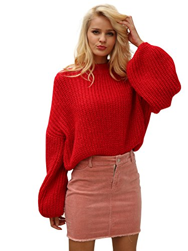 Simplee Women's Casual Long Sleeve Loose Pullover Knit Sweater Jumper Top,Red,One ()
