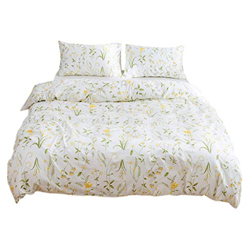 (QBQCBB Cotton Bedding Three-Piece,Simple and Fashionable Cotton Quilt Cover Pillowcase (White,135X200))