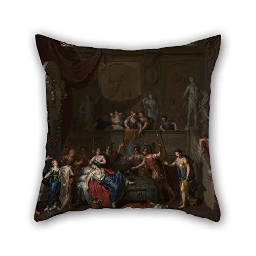 Throw Pillow Covers of Oil Painting Gerard Hoet (Dutch - The Death of Cleopatra 18 X 18 inches / 45 by 45 cm Best Fit for Divan Bedding Husband Bedroom Boy Friend Home Each Side