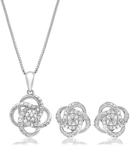 6dd7bcb7f68 1/4 CT.TW. Diamond Love Knot Set in Sterling Silver with 18