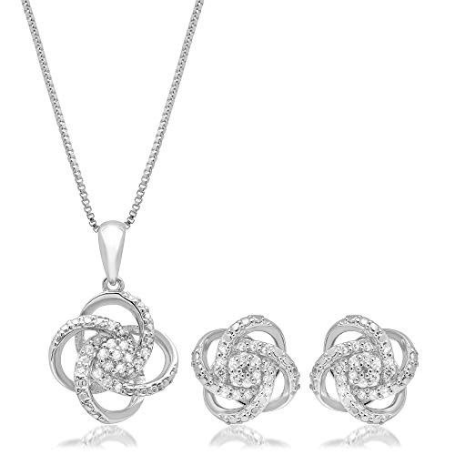 1/4 CT.TW. Diamond Love Knot Set in Sterling Silver with 18