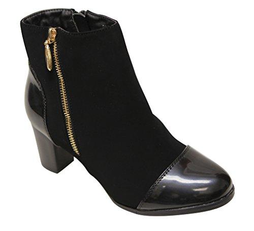 (Bella Marie Paula-10 Women's high top Zip Patent Almond Toe & Back Chunky Heel Nubuck Booties Black 7)