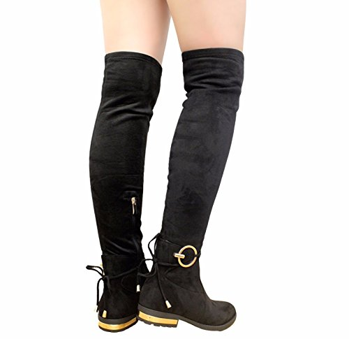 Long Womens BLACK Shoes Knee The Over 3 Heel Boots Size Thigh Block Back Ladies SAUTE STYLES NEW Tie High 8 FUxwqE6t