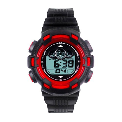 SYNOKE Waterproof Men's LED Digital Quartz Sports Watch (Red) - 8