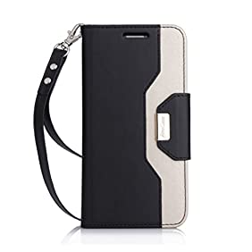 LG G6 Wallet Case, ProCase Folio Fold Card Case with Credit Card Slots Wristlet Flip Cover Kickstand Case for LG G6 2017 -Black
