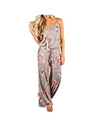 SUNNOW Women Double Straps SLeeveless Floral Jumpsuits & Rompers and Trousers