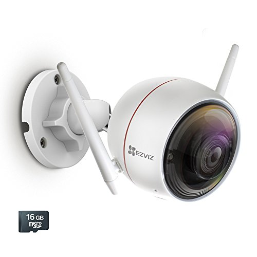 EZVIZ C3W / ezGuard 1080p - Wireless Wi-Fi Security Camera with Remote Activated Alarm System and Pre-Installed 16GB microSD Card