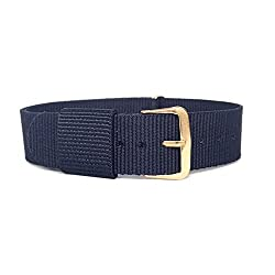BINZI 18mm Nylon Canvas Rose Gold Buckle Watch Band Strap,Replacement Fabric Band Navy Blue