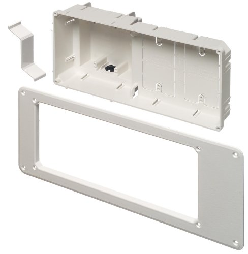 Arlington TVB613-1 Recessed TV Outlet Box with Paintable Trim Plate, White, 4-Gang by Arlington Industries