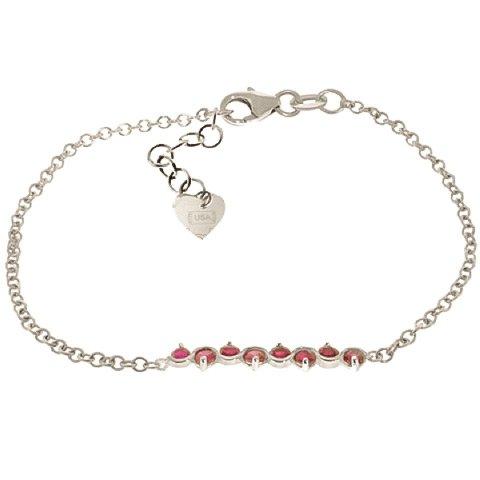 QP bijoutier de rubis naturels Bracelet en or blanc 9 carats-ronde - 5080W 1.55ct