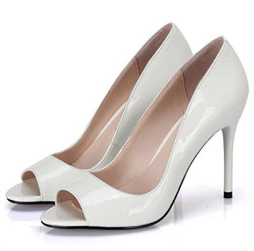 elegante se la pescado 38 a 39 Heel pela blanco la luz 12cm Bien zapatos del pintura y solo Transpirable Moda AJUNR Sandalias con Shoes alto Zxv8qx5B