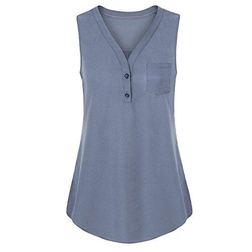 (Sunmoot Clearance Sale Plus Size Henleys Shirt Womens Sleeveless Tank Tops Summer Casual Button Blouse T-Shirt Tunic)