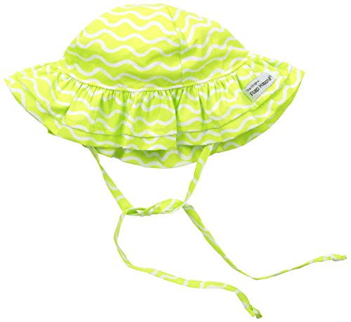 Flap Happy Baby Girls' UPF 50+ Double Ruffle Hat, Lime Twist Large