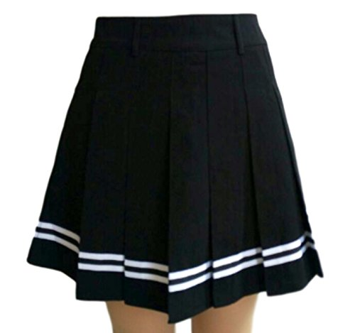 PEPU Women`s check Pleated School Skirt Japanese Asian Costume (XL, White border and black) (Belly Dance Costumes For Teenagers)