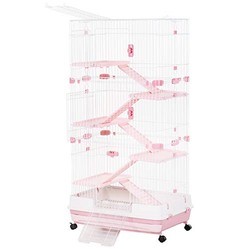 PawHut 32″L 6-Level Indoor Small Animal Rabbit Cage with Wheels – Pink