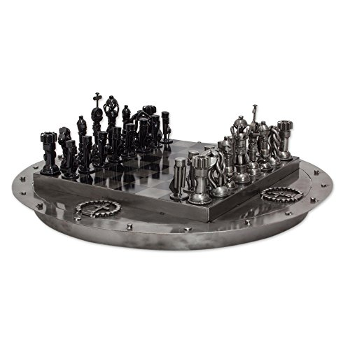 NOVICA Decorative Recycled Metal Chess Set, Black and Metallic, 'Medieval (Medieval Home Decor)