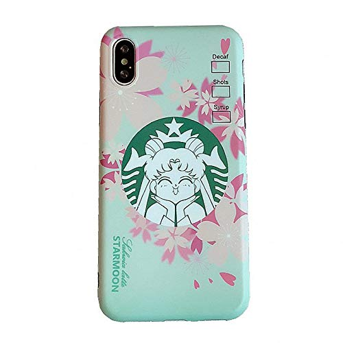 Slim Fit Smooth Soft Tpu Sailor Moon Starbucks Case For Apple Iphone X Xs Pink Sakura Starmoon Cartoon Protective Shockproof Cute Lovely Fun Unique