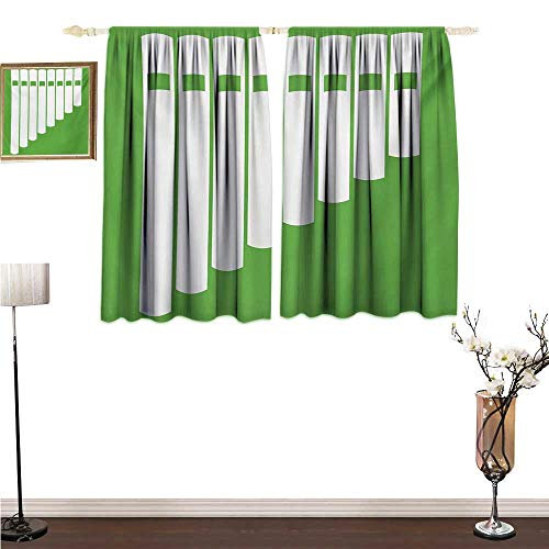 - homehot Window coverings Pan Flute,White Abstract Panpipe Simple Icon on Green Background Peruvian Ethnic,Lime Green and White Indoor Wall Curtain Decorations W55 x G63