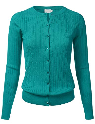 Women's Classic Gem Button Long Sleeve Crew Neck Cable Knit Fitted Cardigan Sweater DarkGreen L