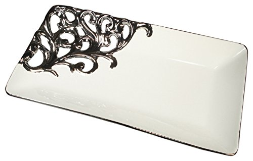 1 Ss Silver Satin (StealStreet SS-DD-R900 Silver White Color Collection Rectangular Platter)