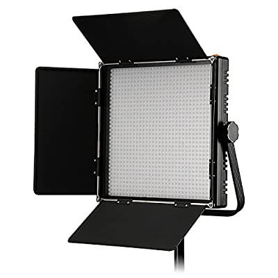 Fotodiox Pro LED-1024ASL, Professional 1,024 LED Dimmable and Bi-Color, Dual Color Adjustable Photo Video Light Kit with Barndoor and LCD Touchscreen Control, Still / Video LED Light Kit, with Dimmable Control, 12V AC Power Adapter, Light Stand Yoke Brack