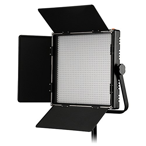 Fotodiox Pro LED-1024ASL, Professional 1,024 LED Dimmable and Bi-Color, Dual Color Adjustable Photo Video Light Kit with Barndoor and LCD Touchscreen Control, Still / Video LED Light Kit, with Dimmable Control, 12V AC Power Adapter, Light Stand Yoke Brack by Fotodiox
