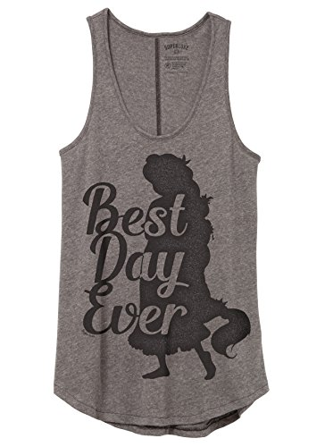[Superluxe™ Womens Best Day Ever Rapunzel Princess Vintage Flowy Tank Top, Vintage Coal, XX-Large] (Best College Halloween Outfits)
