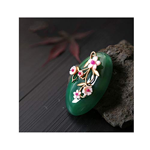 (Natural Nacre Jade Brooch Pins Shell Flower Brooches For Women Accessories Dual Use Fine Jewelry,1 )