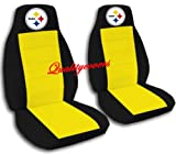 2 Black and Yellow Pittsburgh seat covers for a 2011 Ford Lariat. Bucket Seats Side airbag friendly.