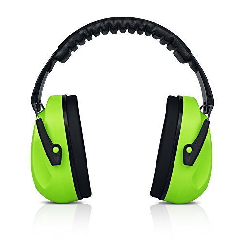 HearTek Kids Ear Protection Noise Reduction Children Protective Earmuffs - Sound Cancelling Hearing Muffs for Toddler, Baby, Infants - Adjustable, Foldable with Travel Bag - Green ()