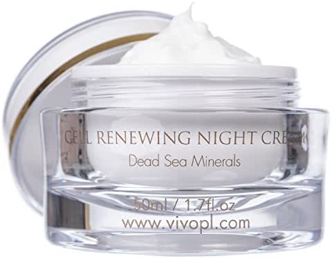 Vivo Per Lei Dead Sea Night Cream   Moisturizing Night Cream with Minerals, Shea Butter   Dead Sea Cream to Refresh Skin   Night Recovery Cream for Anti Aging   Night Moisturizer to Show Skin You Care