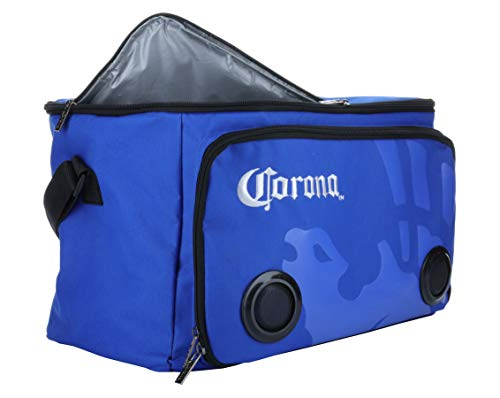 (Corona Beach Cooler Bag with Built in Speakers, 24 Cans Insulated Tote Cooler, Long Lasting Rechargeable Battery (CJHP006) Blue)