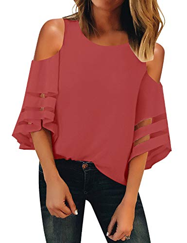 LookbookStore Women's Round Neck Mesh Panel Blouse Bell Crop Sleeve Cold Shoulder Top Shirt Tea Rose Size XX-Large