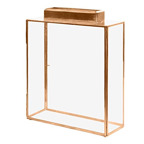 Koyal Wholesale Glass Wedding Card Gift Box Holder, Reception Drop Box, Large Pillar Candle Holder, Modern Lantern Table Decor, Geometric Wedding Decor (Copper, 15.5 x 11.5 x 4-Inch)