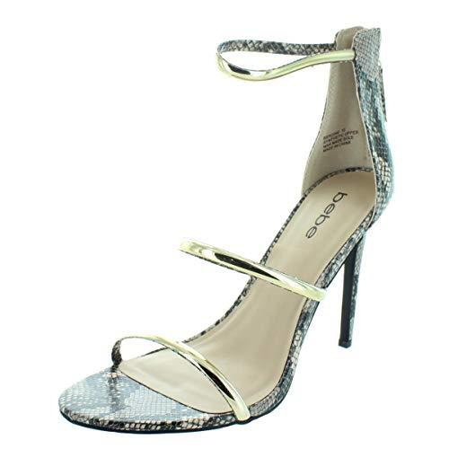bebe Womens Berdine Strappy Snake Skin Dress Sandals Taupe 5 Medium (B,M) ()