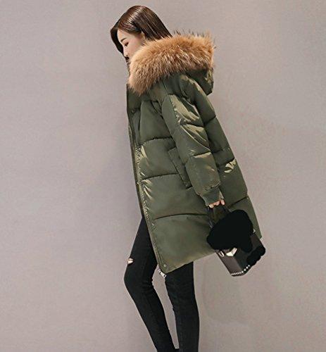 Cappuccio Cappotto Con Donna Lungo Verde Autunno Esercito Giacca Di Lunghi E Spessore Giacche Wanyang Inverno Outwear Eleganti wqI4Bgn