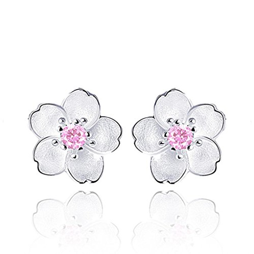Price comparison product image Gyoume 1 Pair Ear Stud Girls New Design Women Earring Elegant Sterling Silver Earrings 3 Color Wedding Gift (A,  Pink)