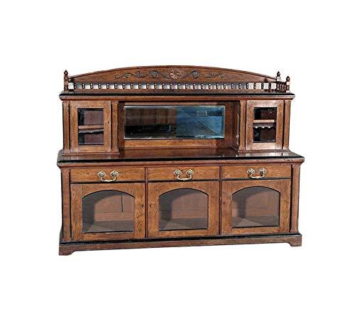 Antique English 6Ft Solid Pollard Oak Buffet Mirror Sideboard Server