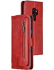 """BINGRAN Samsung Galaxy S9+ Etui Portfel Case Klamra Magnetyczna ze Skóry PU Odporny na Wstrząsy Odwróć Osłonę Ochronną Etui na Samsung Galaxy S9+ 6.2"""" -Czerwony"""