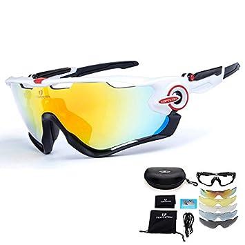 TOPTETN Polarized Sports lunettes de soleil UV400 protection lunettes de vélo avec 5 lentilles interchangeables pour le cyclisme, baseball, pêche, ski, course (08)