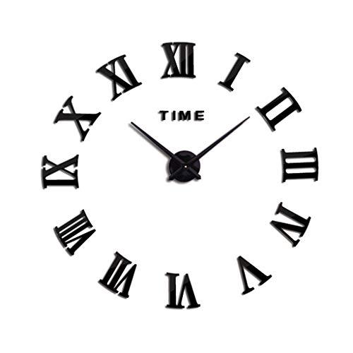 Ruzida 3D Wall Clock DIY Roman Numeral Metallic Mirror Stick-On Clock Modern -
